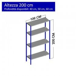 Scaffalatura metallica a 4 ripiani altezza 2 metri