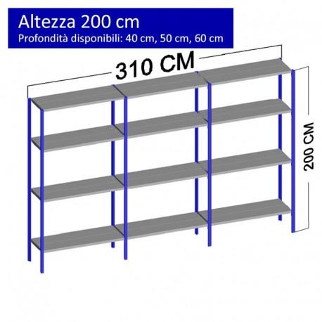 Scaffalatura metallica a 12 ripiani altezza 2 metri