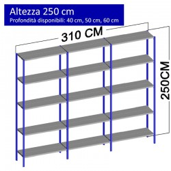 Scaffalatura metallica a 15 ripiani altezza 2,5 metri
