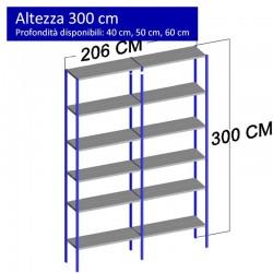 Scaffalatura metallica a 12 ripiani altezza 3 metri