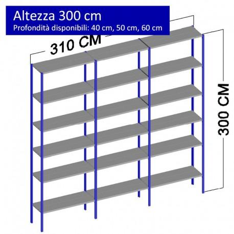 Scaffalatura metallica a 18 ripiani altezza 3 metri